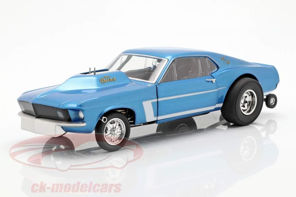 Ford Mustang Gasser The Boss anno di costruzione 1969 blu metallico 1:18 GMP