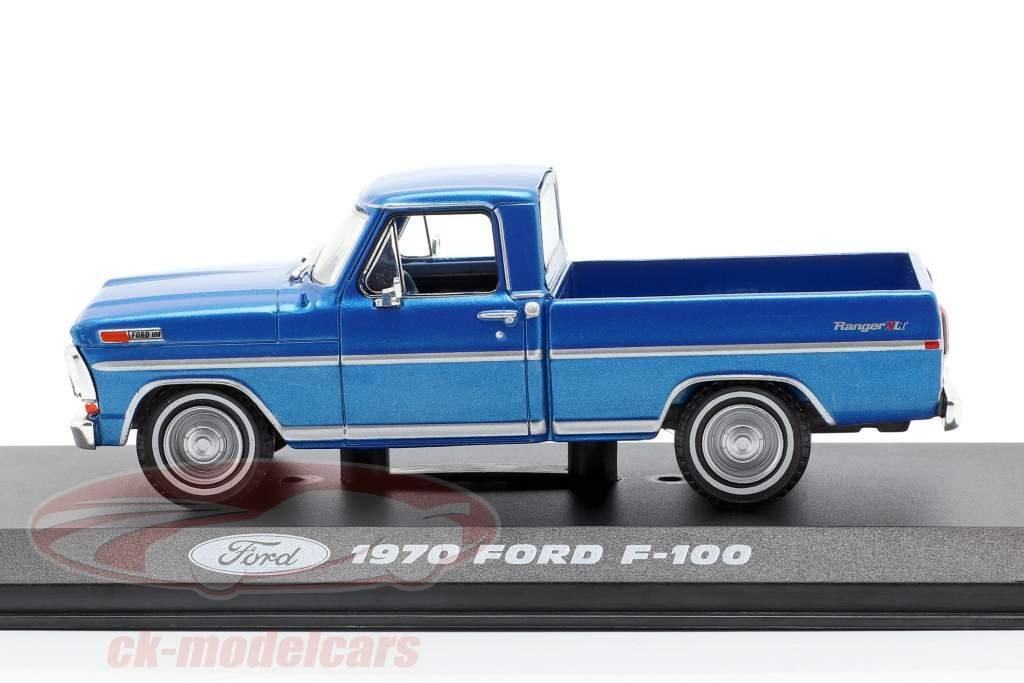 Ford F-100 Pick-Up lastbil Opførselsår 1970 blå metallisk 1:43 Greenlight