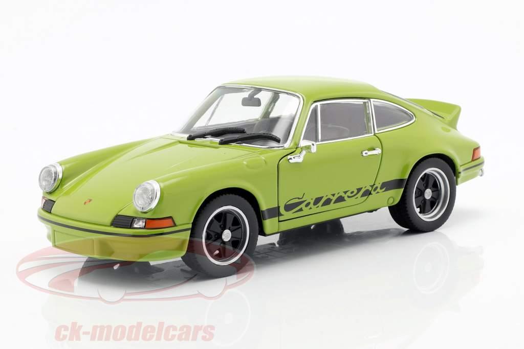 Porsche 911 Carrera RS Bouwjaar 1973 lime groen / zwart 1:24 Welly