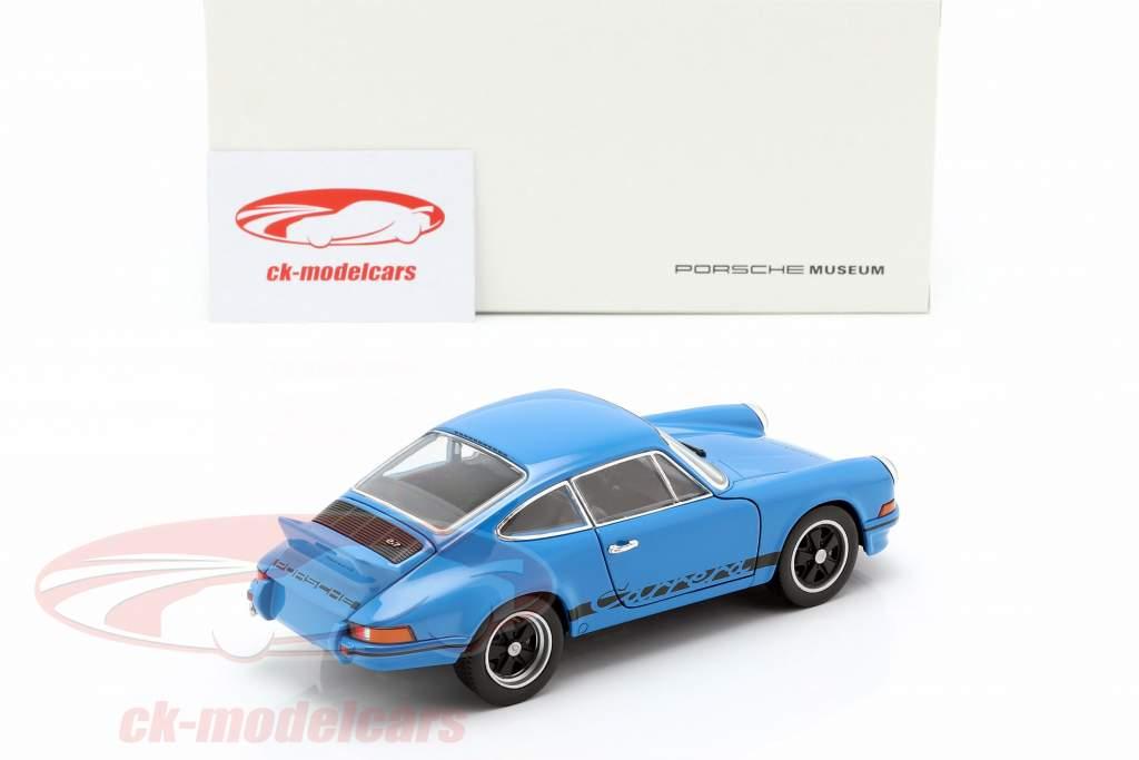 Porsche 911 Carrera RS Opførselsår 1973 underglasur blå 1:24 Welly