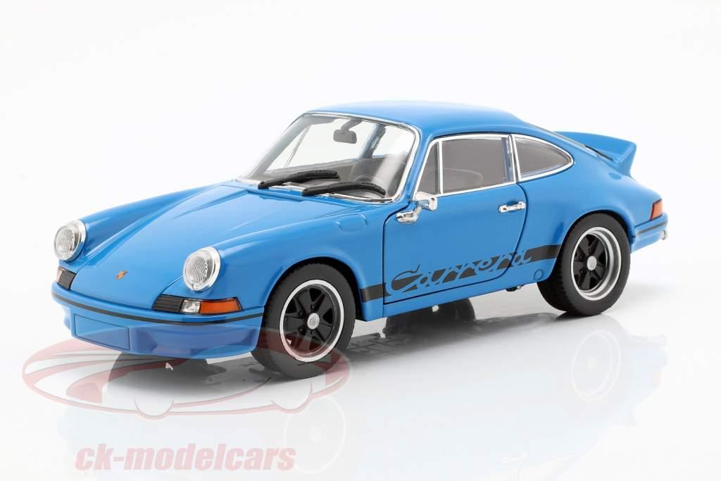 Porsche 911 Carrera RS año de construcción 1973 azul bajo vidriado 1:24 Welly