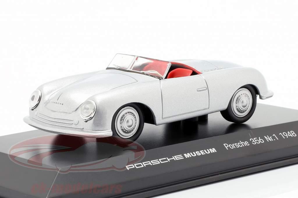 Porsche 356 No.1 ano de construção 1948 prata 1:43 Welly