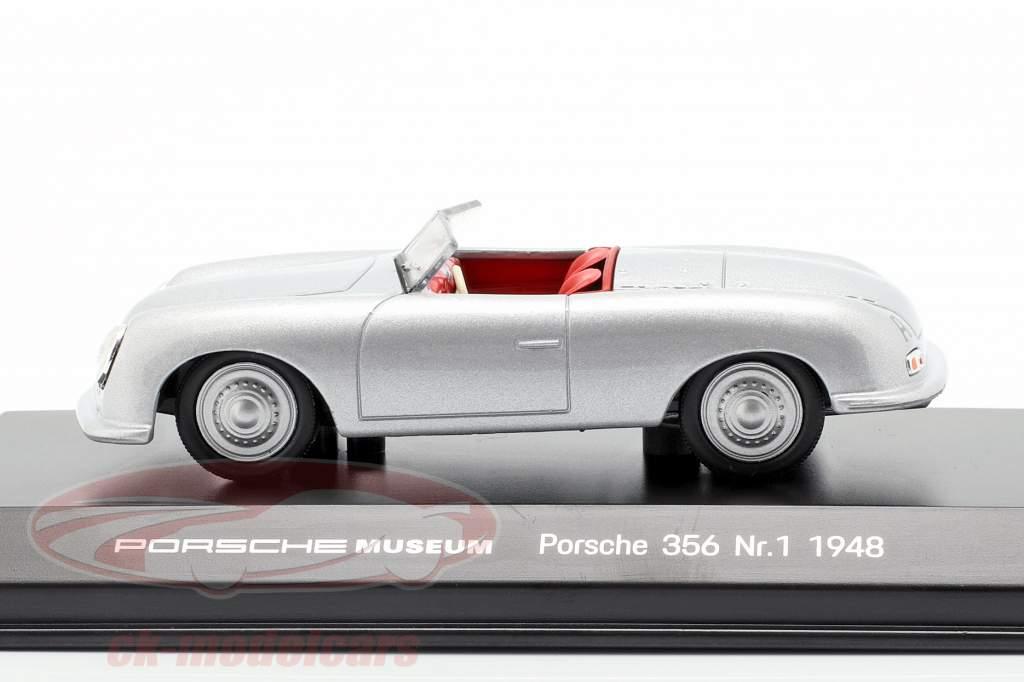Porsche 356 No.1 Opførselsår 1948 sølv 1:43 Welly