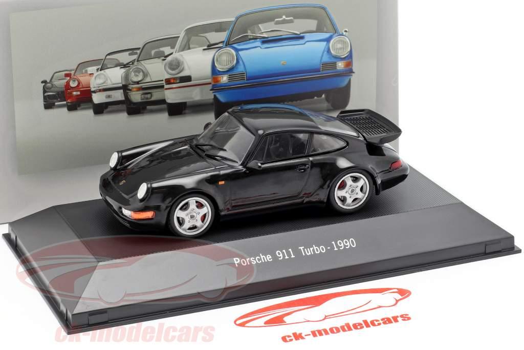 Porsche 911 (964) Turbo Baujahr 1990 schwarz 1:43 Atlas