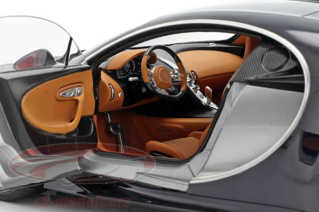 Bugatti Chiron year 2017 silver / atlantic blue 1:18 AUTOart