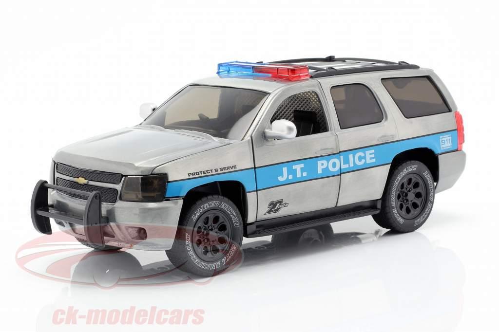Chevy Tahoe J.T. Police ano de construção 2010 cinza prata / azul 1:24 Jada Toys