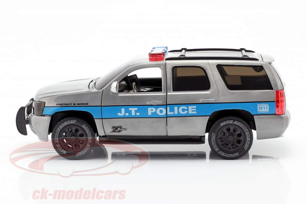 Chevy Tahoe J.T. Police anno di costruzione 2010 grigio argento / blu 1:24 Jada Toys