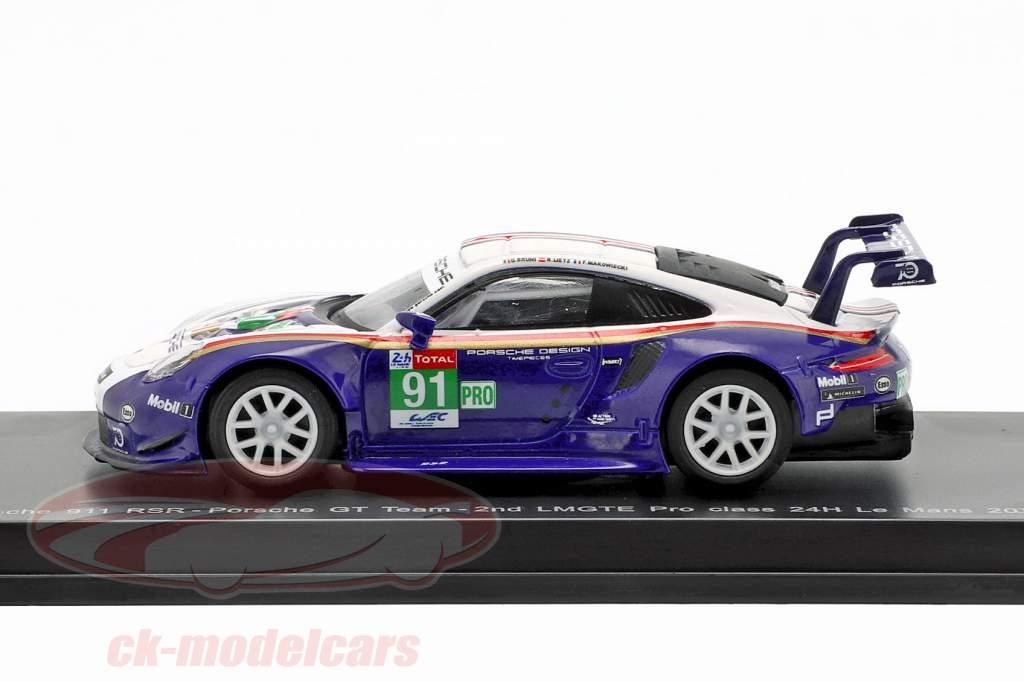 Porsche 911 (991) RSR #91 segundo LMGTE Pro Class 24h LeMans 2018 1:64 Spark