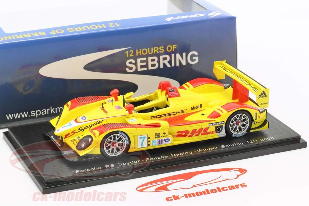 Porsche RS Spyder #7 Vinder 12h Sebring 2008 Bernhard, Dumas, Collard 1:43 Spark