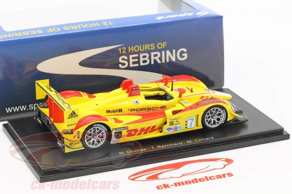 Porsche RS Spyder #7 vincitore 12h Sebring 2008 Bernhard, Dumas, Collard 1:43 Spark