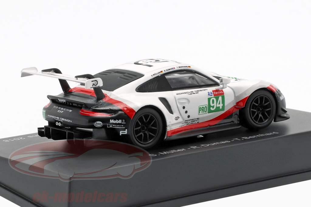 Porsche 911 (991) RSR GTE #94 24h LeMans 2018 Dumas, Bernhard, Müller 1:64 Spark