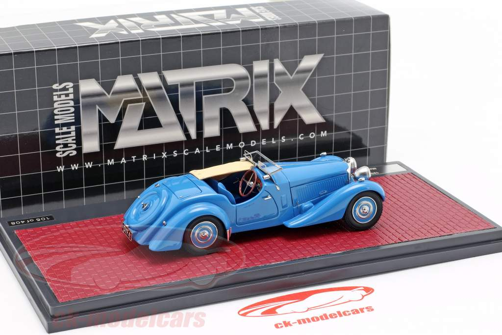 Bugatti Type 57 S Corsica Roadster M. Campbell aidé ouvert économiseur d'écran année de construction 1937 bleu 1:43 Matrix