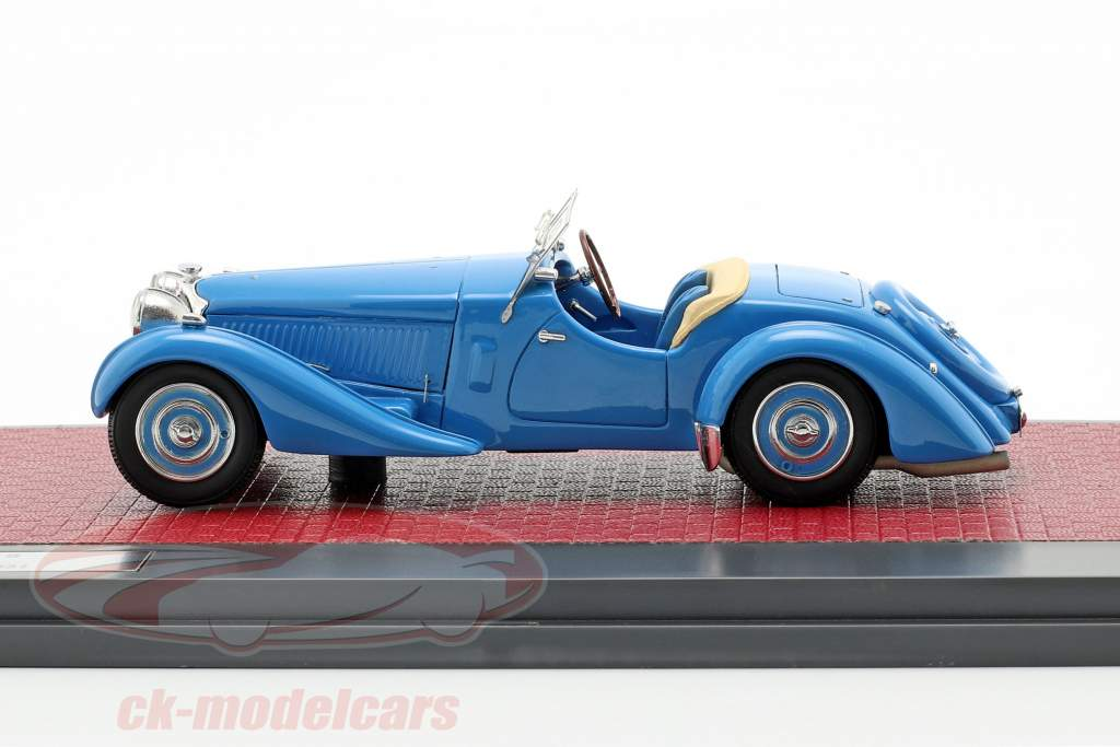 Bugatti Type 57 S Corsica Roadster Malcolm Campbell Bouwjaar 1937 blauw 1:43 Matrix