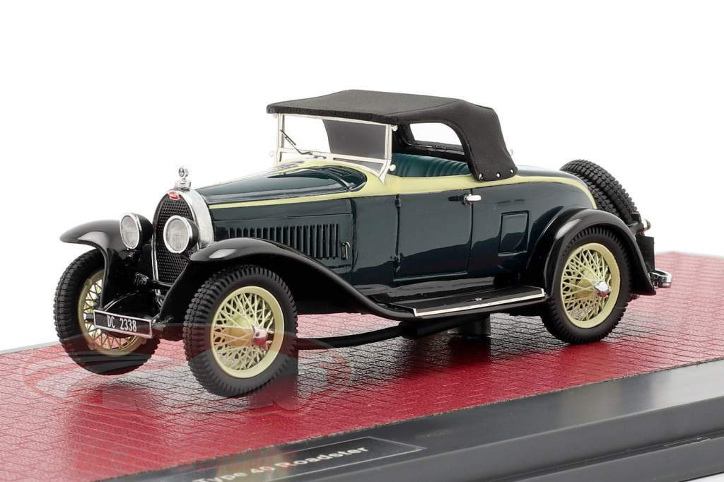 Bugatti Type 40 Roadster Bouwjaar 1921 zwart / geel 1:43 Matrix