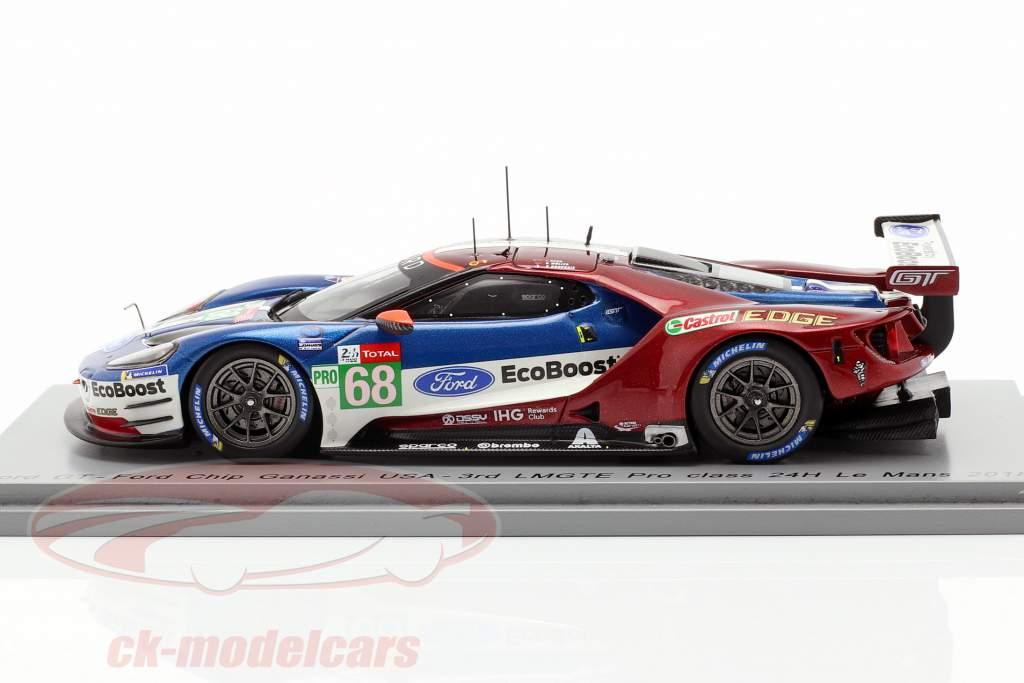 Ford GT #68 3e LMGTE Pro Class 24h LeMans 2018 Hand, Müller, Bourdais 1:43 Spark