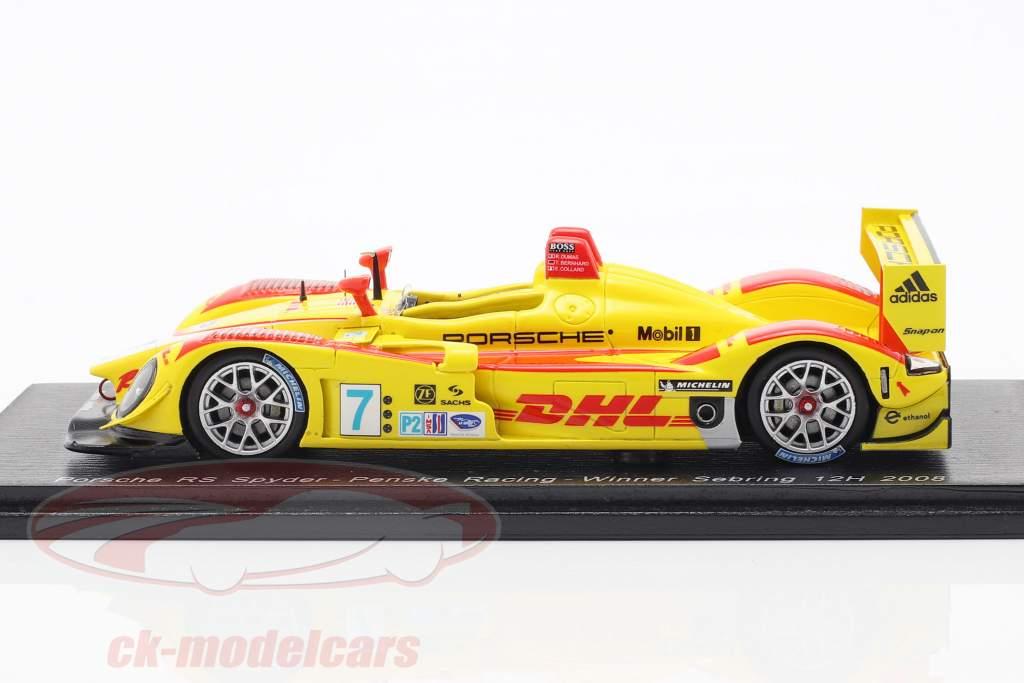 Porsche RS Spyder #7 vencedor 12h Sebring 2008 Bernhard, Dumas, Collard 1:43 Spark