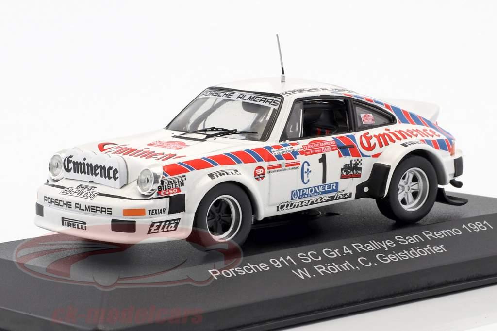 Porsche 911 SC Gr.4 #1 Rallye San Remo 1981 Röhrl, Geistdörfer 1:43 CMR