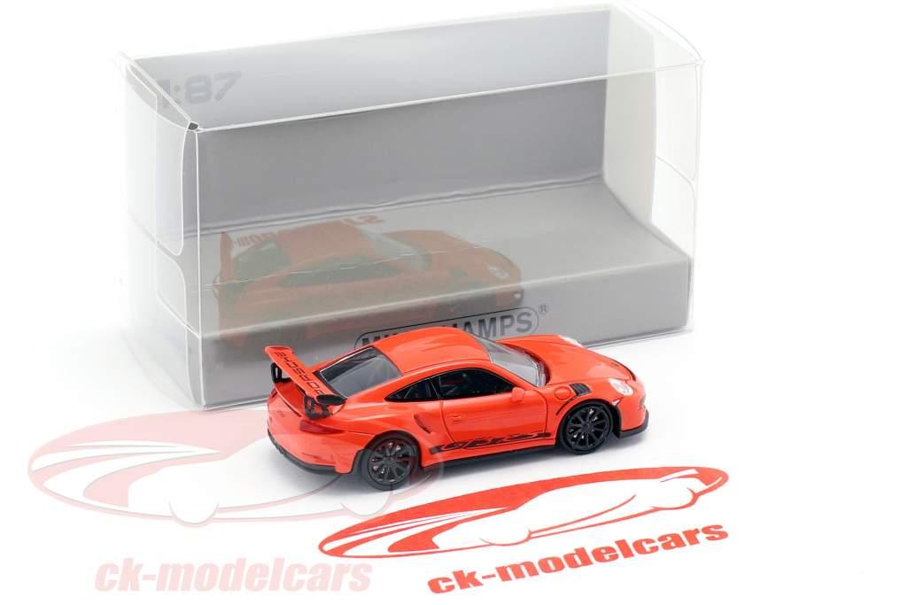 Porsche 911 (991) GT3 RS year 2013 lava orange / black 1:87 Minichamps