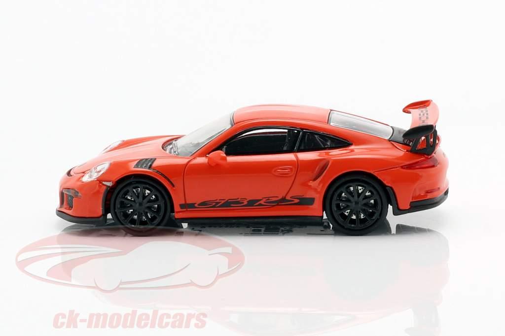 Porsche 911 (991) GT3 RS Opførselsår 2013 lava appelsin / sort 1:87 Minichamps