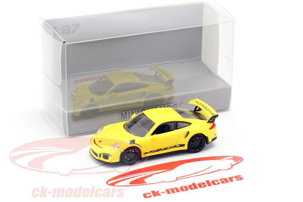 Porsche 911 (991) GT3 RS Opførselsår 2013 væddeløb gul / sort 1:87 Minichamps