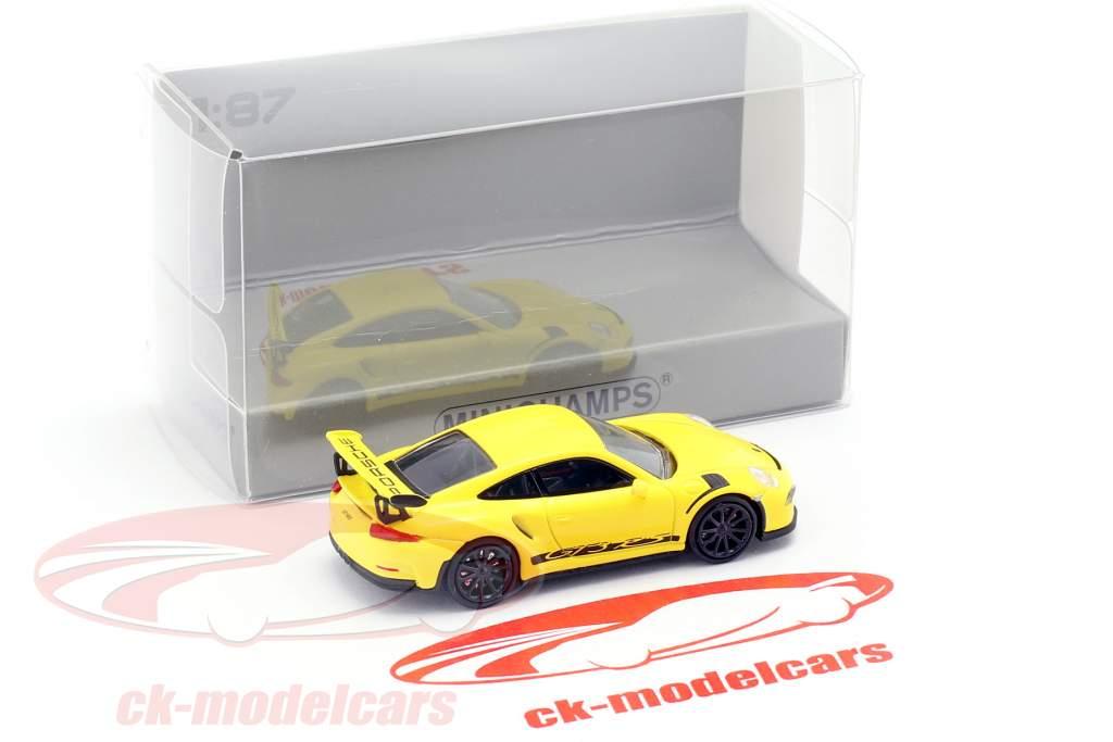 Porsche 911 (991) GT3 RS ano de construção 2013 corrida amarelo / preto 1:87 Minichamps