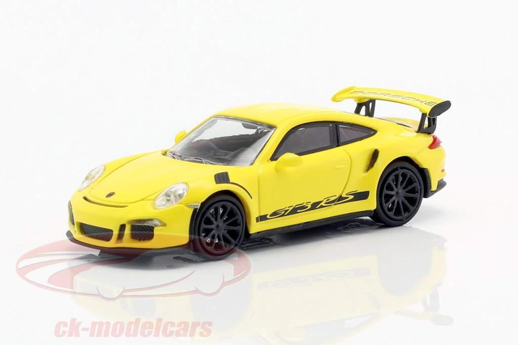 Porsche 911 (991) GT3 RS year 2013 racing yellow / black 1:87 Minichamps