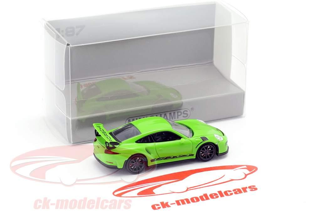 Porsche 911 (991) GT3 RS ano de construção 2013 amarelo verde / preto 1:87 Minichamps