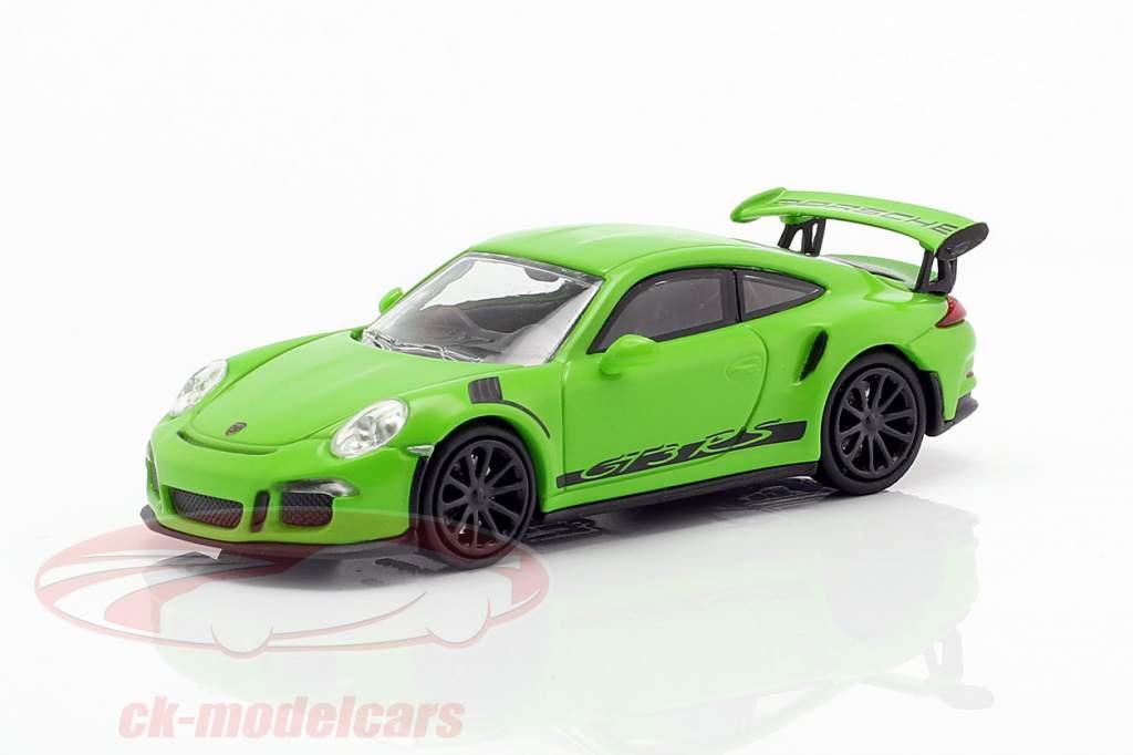 Porsche 911 (991) GT3 RS Opførselsår 2013 gul grøn / sort 1:87 Minichamps