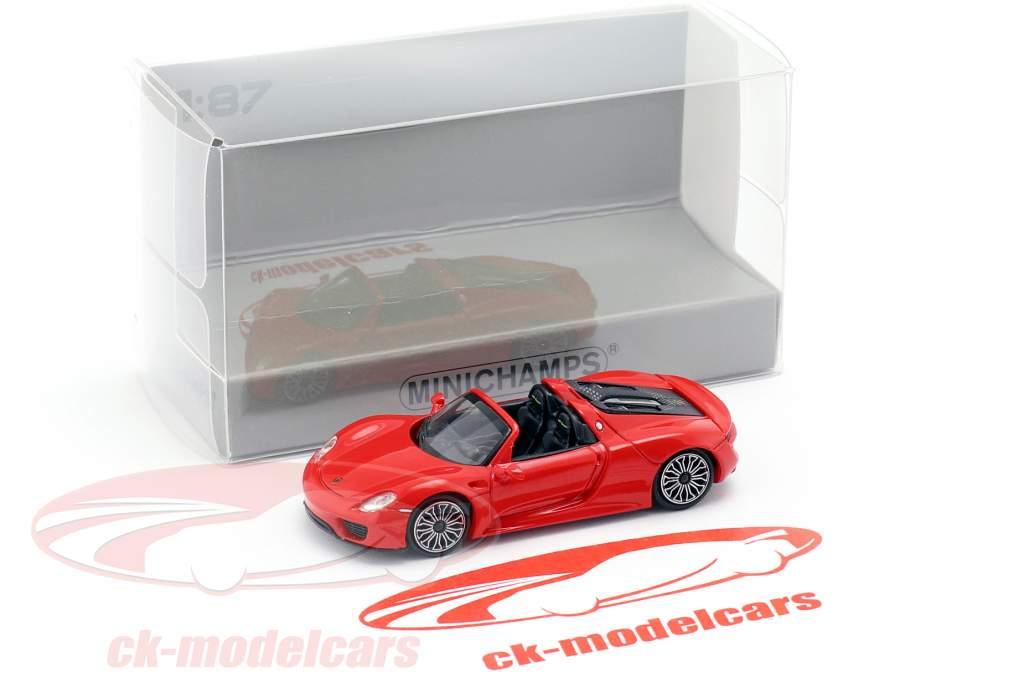 Porsche 918 Spyder Bouwjaar 2013 rood 1:87 Minichamps