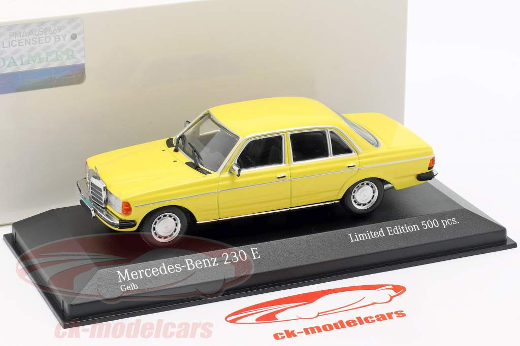 Mercedes-Benz 230 E (W123) year 1982 yellow 1:43 Minichamps