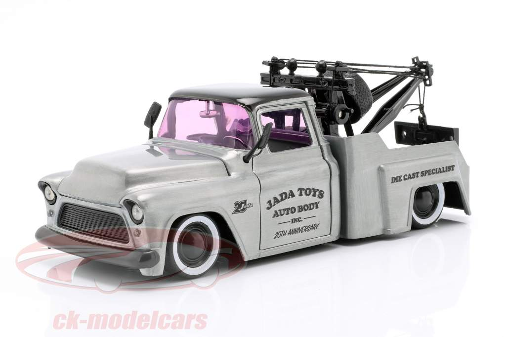 Chevy Stepside reboque caminhão ano de construção 1955 cinza prata / preto 1:24 Jada Toys