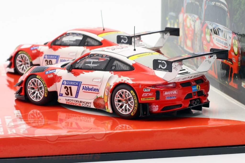 2-Car Set Porsche 911 (991) GT3 R Frikadelli #30 & #31 24h Nürburgring 2018 1:43 Minichamps