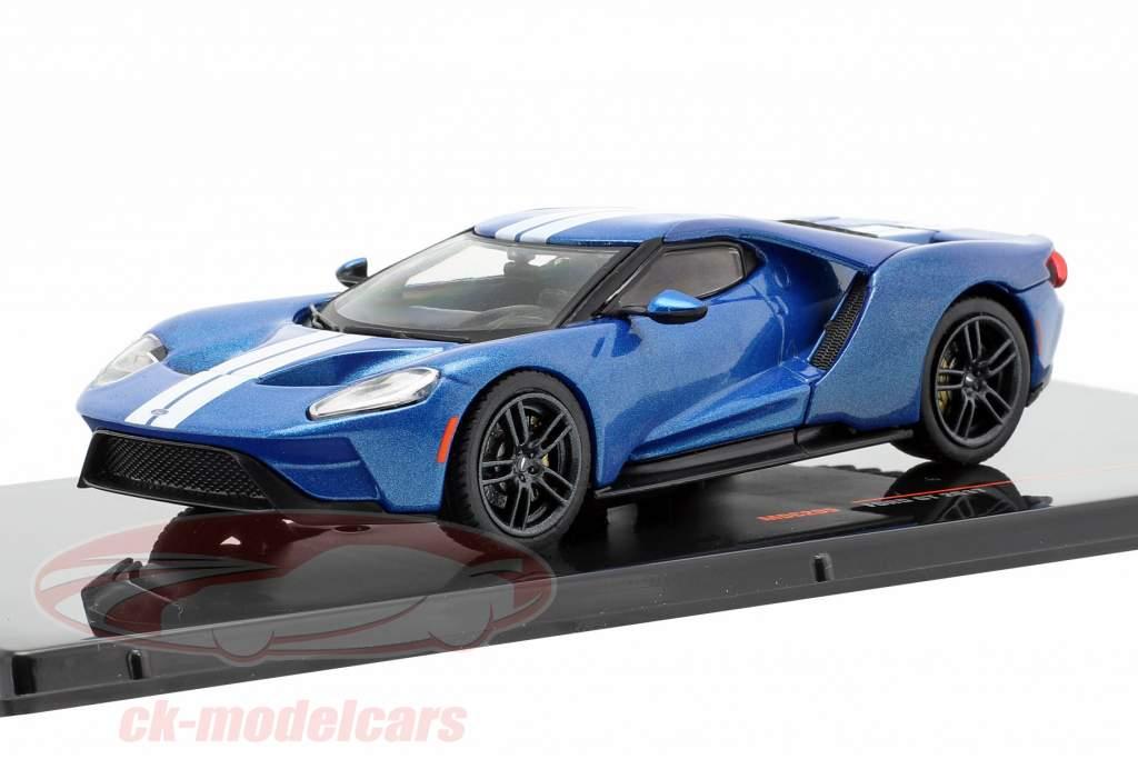 Ford GT Opførselsår 2017 blå / hvid 1:43 Ixo