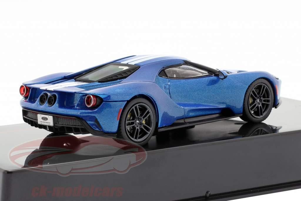 Ford GT Baujahr 2017 blau / weiß 1:43 Ixo