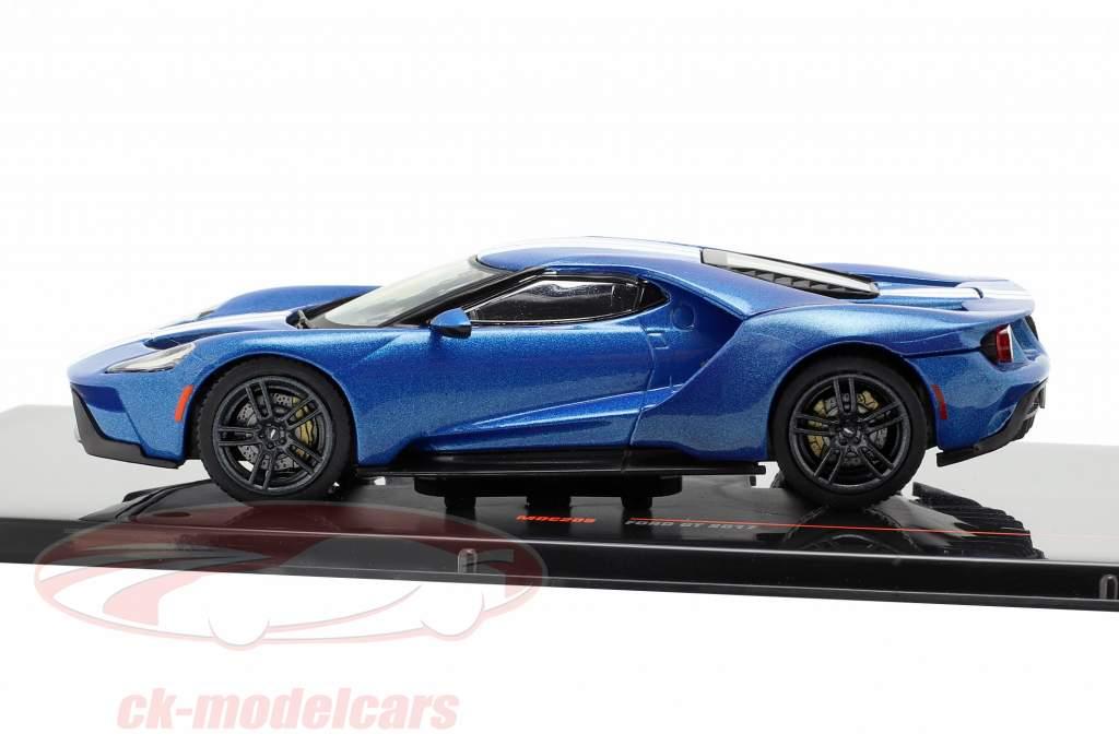 Ford GT ano de construção 2017 azul / branco 1:43 Ixo