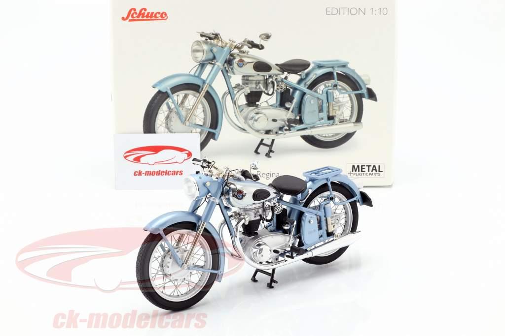 Horex Regina motocicleta con asiento individual azul claro metálico 1:10 Schuco