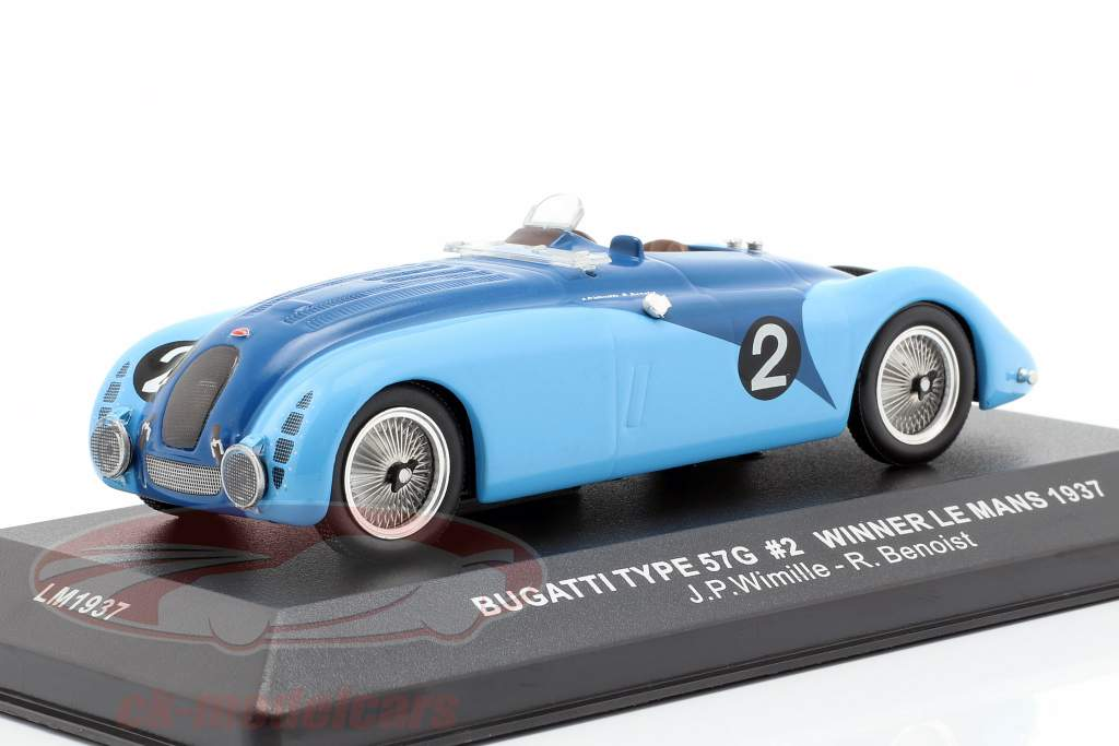 Bugatti Type 57G #2 Wimille, Benoist ganador 24h LeMans 1937 1:43 Ixo
