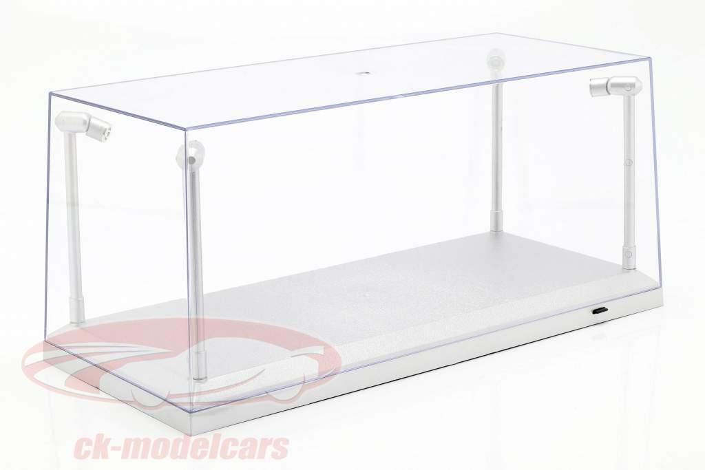 single vitrine zilver met 4 LED lampen voor modelauto's in schaal 1:18 Triple9