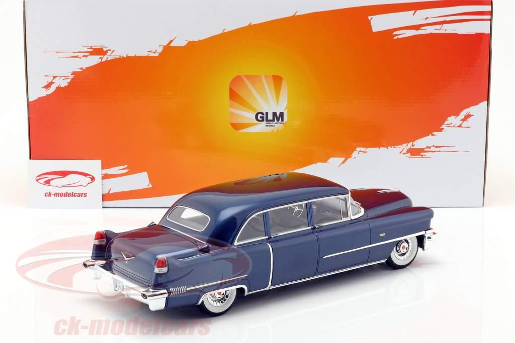 Cadillac Fleetwood Series 75 año de construcción 1956 azul metálico 1:18 GLM