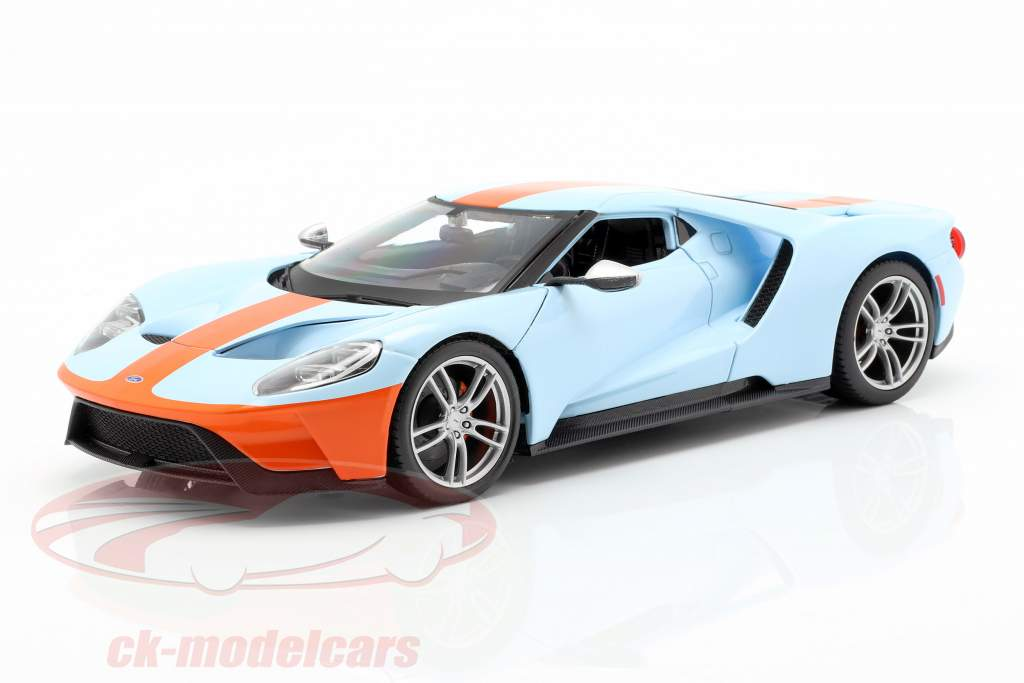 Ford GT Gulf Opførselsår 2017 lyseblå / appelsin 1:18 Maisto