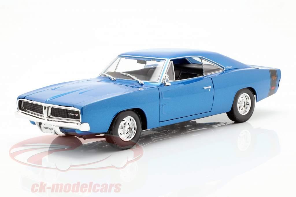 Dodge Charger R/T année de construction 1969 bleu métallique 1:18 Maisto