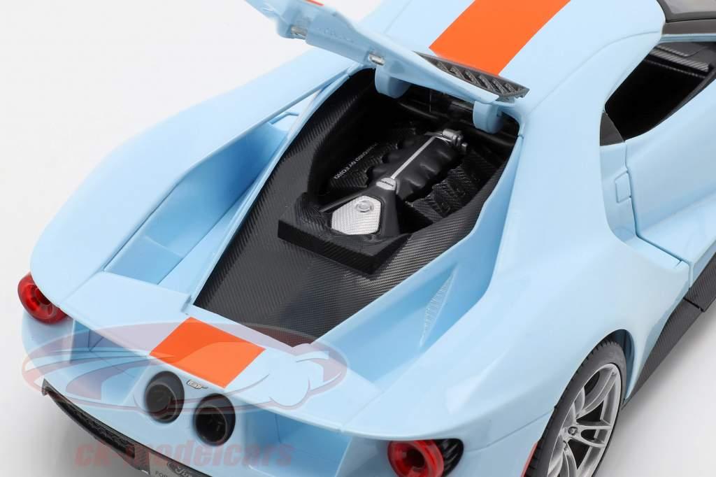 Ford GT Gulf year 2017 light blue / orange 1:18 Maisto