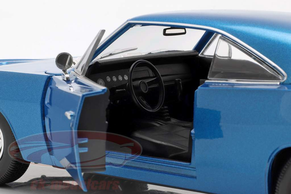 Dodge Charger R/T Bouwjaar 1969 blauw metalen 1:18 Maisto