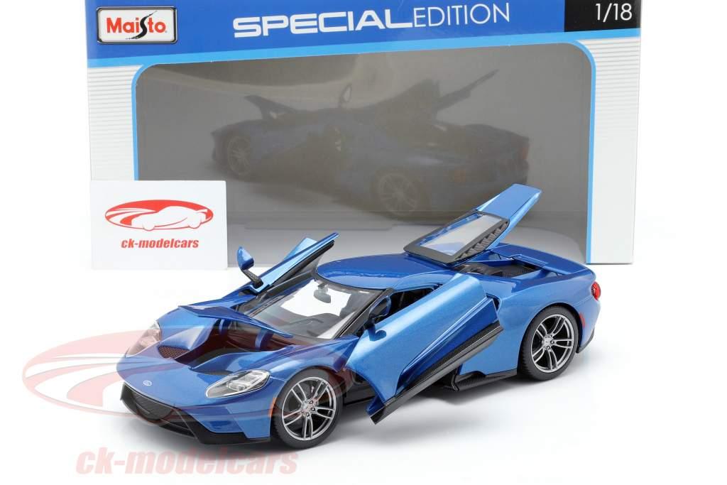 Ford GT año de construcción 2017 azul metálico 1:18 Maisto