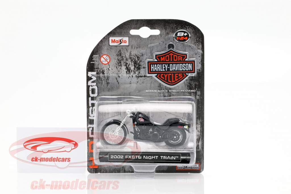 Harley-Davidson FXSTB Night Train Bouwjaar 2002 zwart 1:24 Maisto