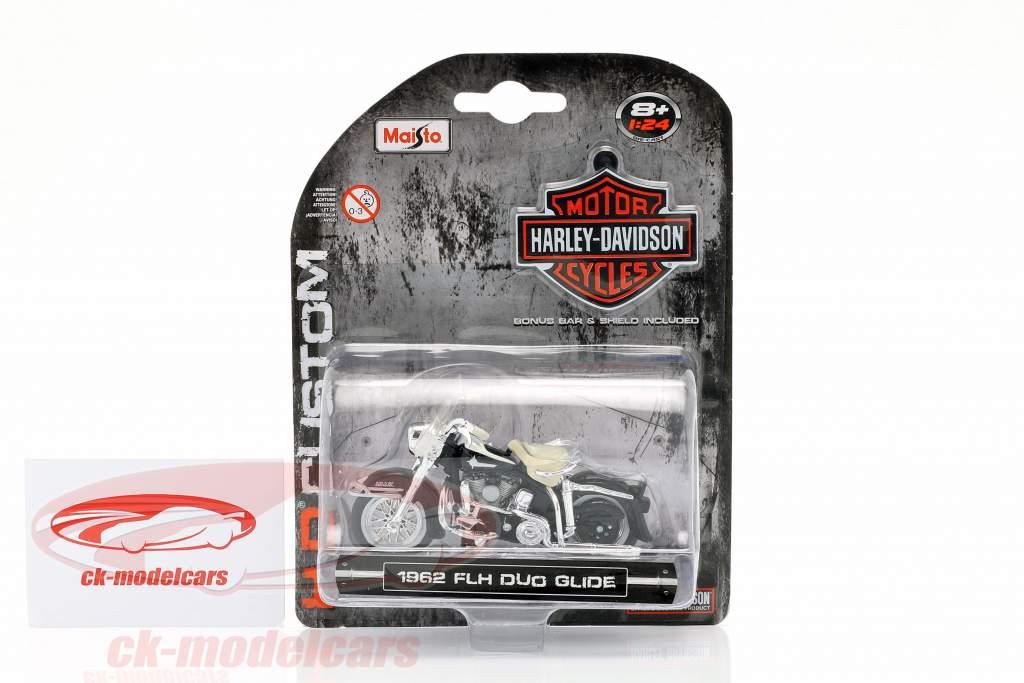 Harley-Davidson FLH Duo Glide ano de construção 1962 preto / branco / cromo 1:24 Maisto