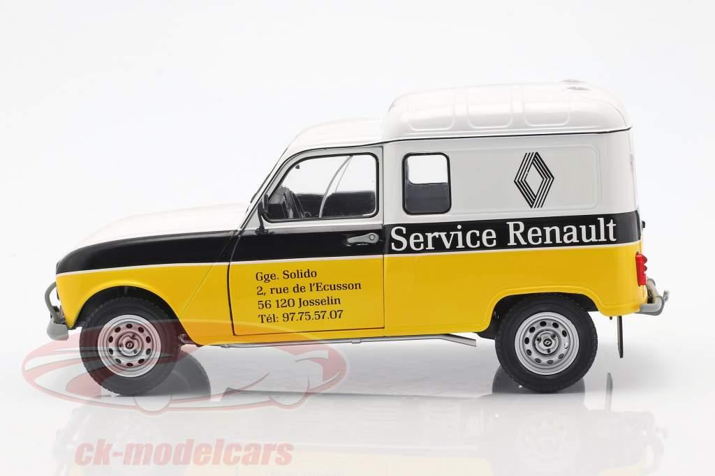 Renault 4LF4 service Renault 1975 geel / wit / zwart 1:18 Solido