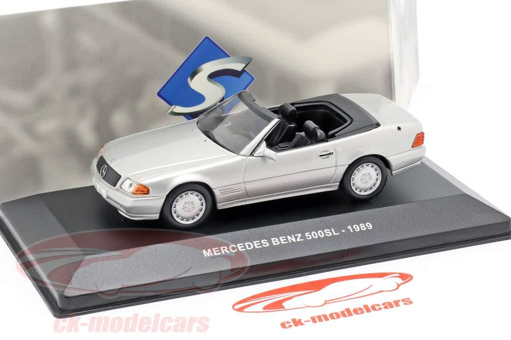 Mercedes-Benz 500SL (R129) Opførselsår 1989 sølv metallisk 1:43 Solido