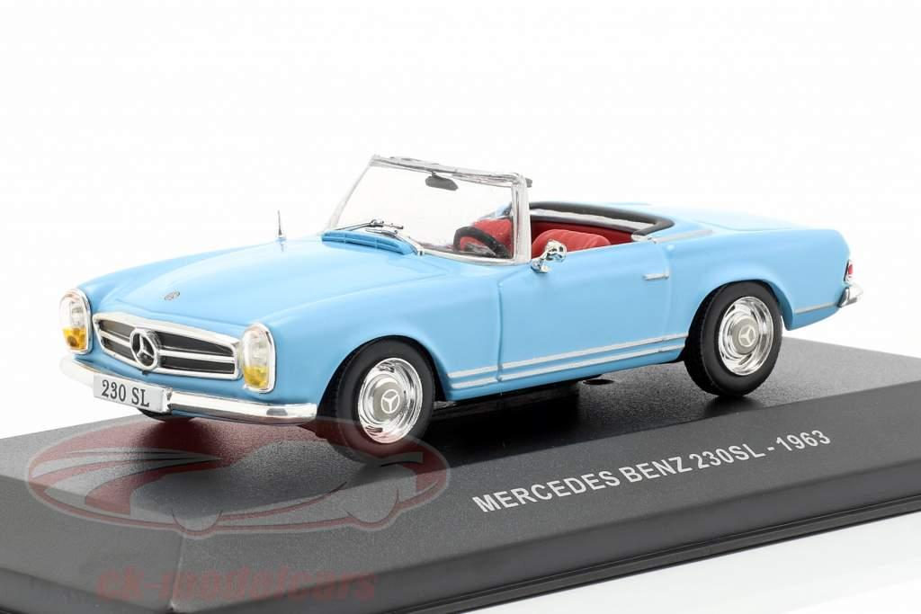 Mercedes-Benz 230SL Roadster (W113) ano de construção 1963 azul claro 1:43 Solido