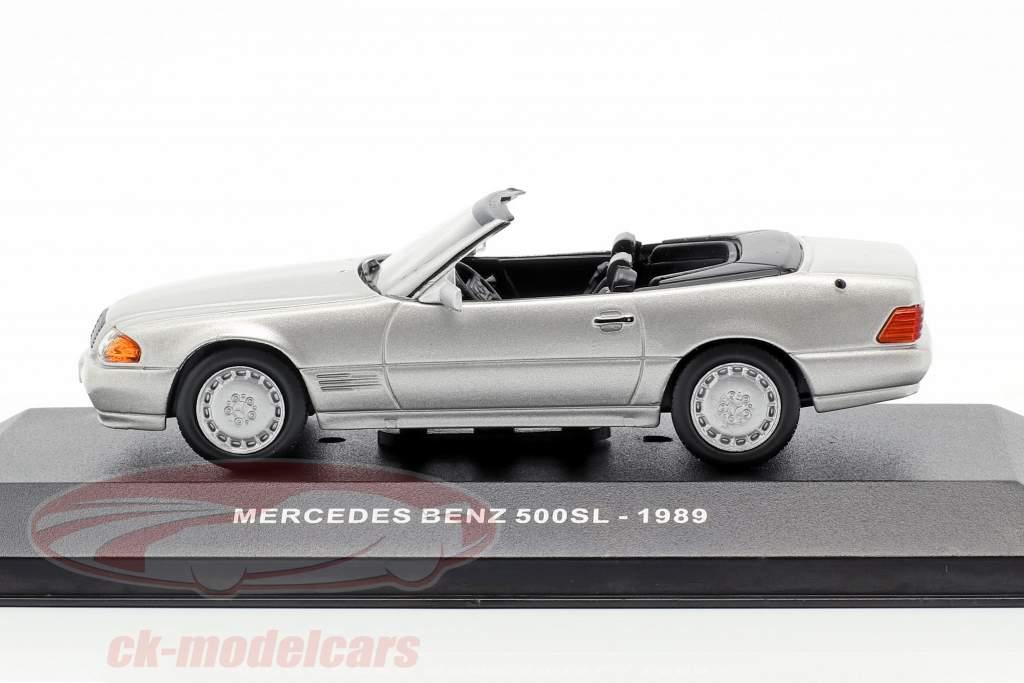 Mercedes-Benz 500SL (R129) Bouwjaar 1989 zilver metalen 1:43 Solido